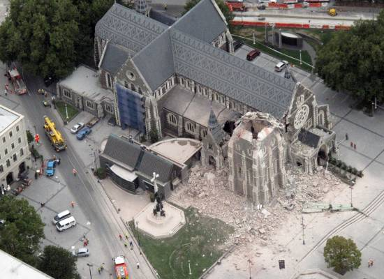 An aerial shot of the Christ Church Cathedral after the earthquake hit on February 22, 2011.