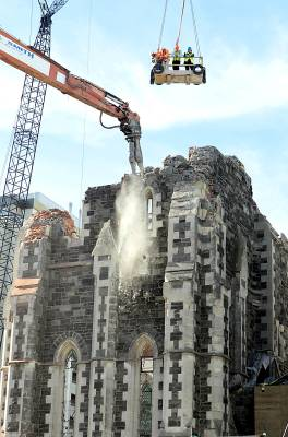 Demolition of the Christ Church Cathedral tower began in April 2012.