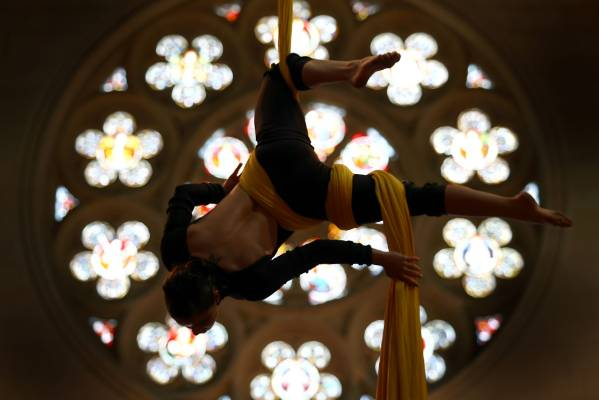 Acrobatics in front of the cathedral's rose window in 2006.