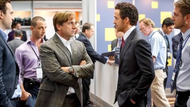 Steve Carell and Ryan Gosling face off in The Big Short.