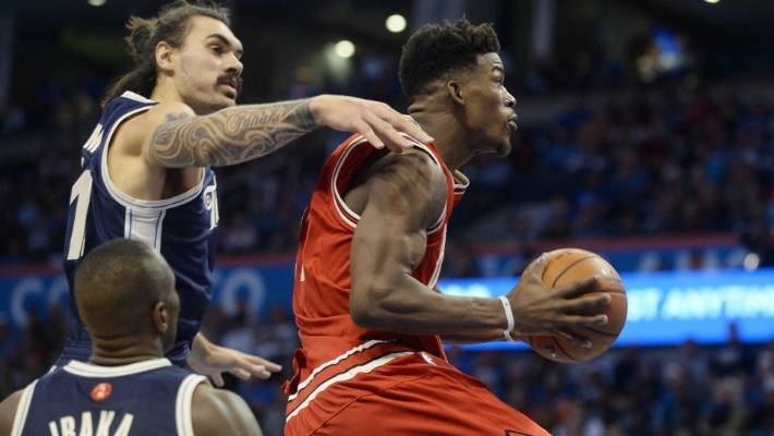 f62487f895b Steven Adams and the Oklahoma City Thunder struggled to get a handle on the  Chicago Bulls