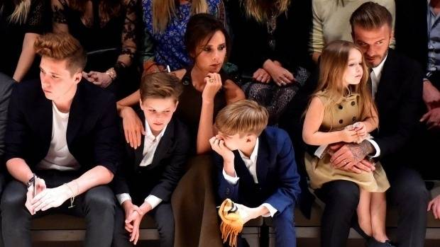 David and Victoria Beckham and their four children: Brooklyn, Romeo, Cruz and Harper.