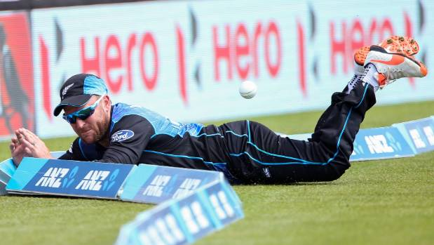 Brendon McCullum injured his back diving to save a boundary.