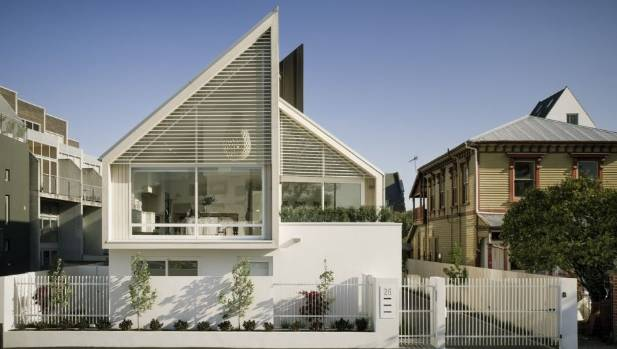 The Salisbury Street townhouses in Christchurch, designed by Warren and Mahoney, feature CLT prefabricated pine panels ...