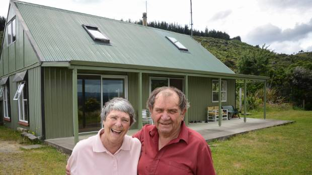 Jenny and Geoff Doring at their off-grid home near Carterton.