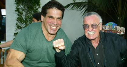 Former Hulk Lou Ferrigno (right) poses with the character's creator, Marvel's Stan Lee, in 2003.