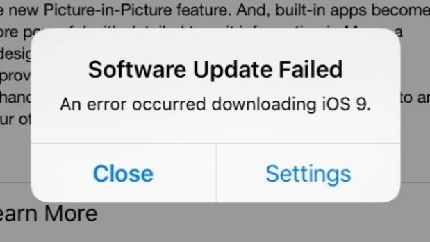 Users are having problems downloading iOS9.