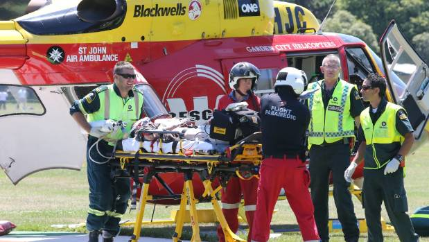 Accident victims arrive at Hagley Park in Christchurch from a crash near Arthur's Pass.