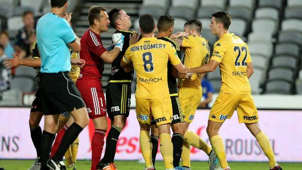 Mariners and Phoenix players react after Roy O'Donovan headbutted Manny Muscat in their A-League match in Gosford. The ...
