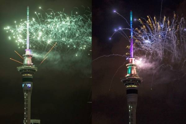 The many colours of the fireworks from the Sky Tower in Auckland at midnight on New Year's Day.
