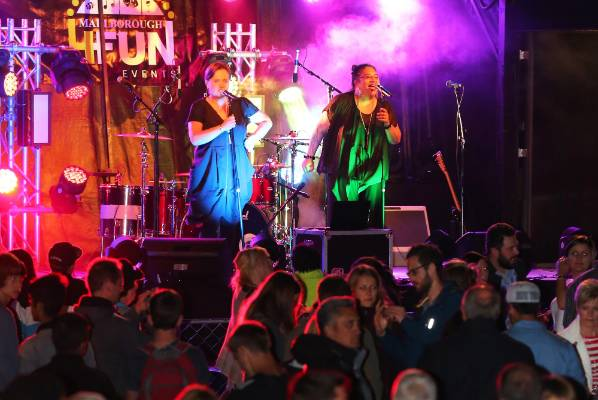 Diamond Divas entertain a big crowd during New Year's Eve celebrations on the Picton foreshore.
