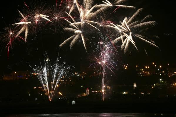 New Year fireworks light up the sky above Timaru's Caroline Bay at midnight.