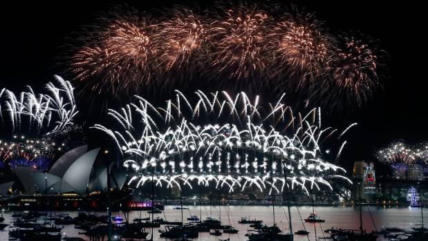 The midnight fireworks on display on New Year's Eve in Sydney, Australia.