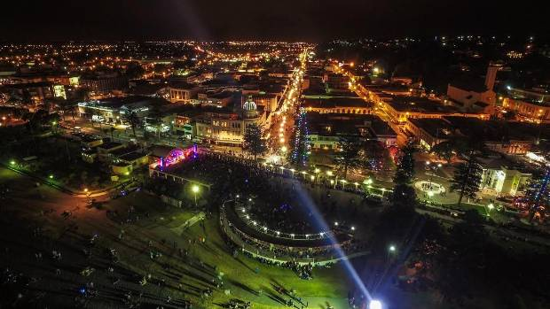 Napier's fireworks display blasted off from Marine Parade.