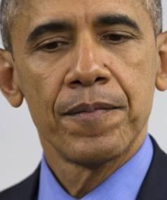US President Barack Obama, as he really looks, in San Bernardino, in December.