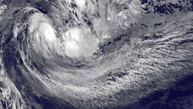 A Nasa satellite image shows Cyclone Ula's eye forming.