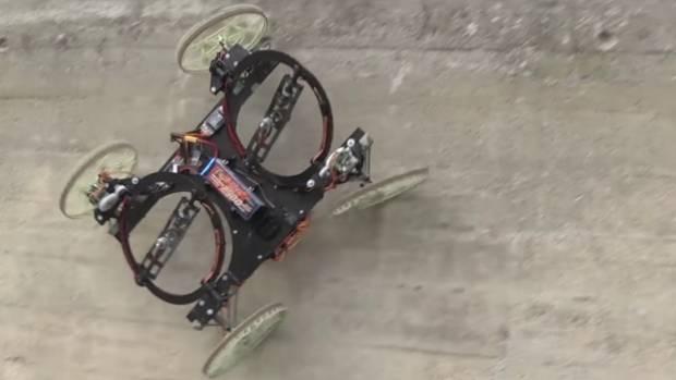 The VertiGo drone car clings to a wall during a demonstration video.