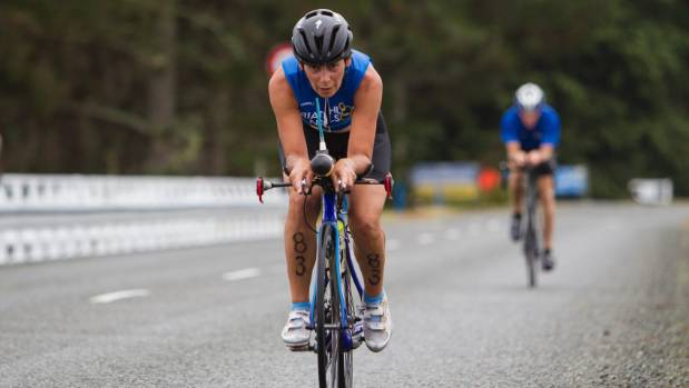 Maria Voigt in action during the cycle leg of the Nelson Triathlon Club standard distance championship at Rabbit Island, ...