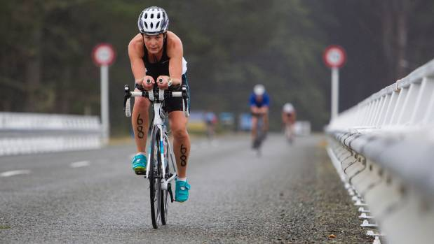 Anthea Lees in action during the cycle leg of the Nelson Triathlon Club standard distance championship at Rabbit Island.