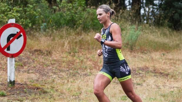 Women's winner Olivia Bird in action during the run leg of the Nelson Triathlon Club standard distance championship at ...