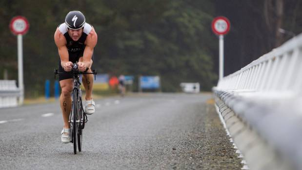 Men's winner Campbell Hanson in action during the cycle leg of the Nelson Triathlon Club standard distance championship ...