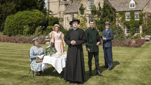 Mark Williams (centre) with the core cast of UK crime series, Father Brown.
