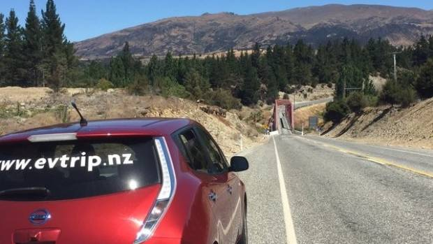 Martin Kane's Nissan Leaf electric car nears Luggate in Central Otago.