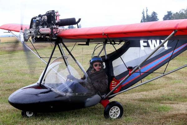 Ross Brodie, of Rangitata, flew solo on his 16th birthday - in this microlight and 15 other aircraft.