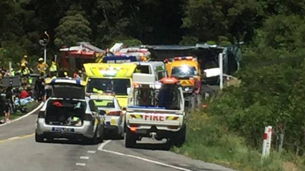 Sixteen people were hospitalised after the collission of a car and a bus carrying a Chinese tourist group in Otira ...