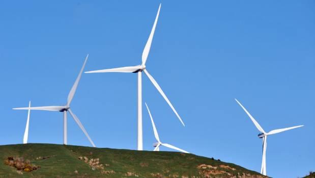 The Te Apiti wind turbines overlook the city of Palmerston North.