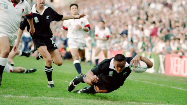 Giant All Blacks wing Jonah Lomu was unstoppable during the 1995 Rugby World Cup semifinal.