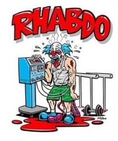 'Uncle Rhabdo' is a cartoon clown who has worked out so hard, he has rhabdomyolysis.