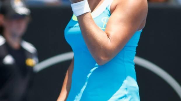Tamira Paszek celebrates a point during her win over Svetlana Kuznetsova on Wednesday.