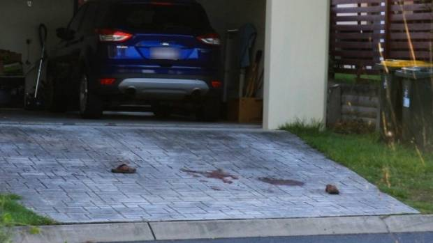 The day's horrific events left the driveway stained with blood.