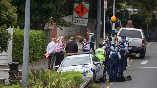Police extensively searched the property on Shore Rd in Remuera where Jo Pert's body was found.