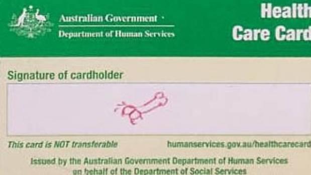 Jared Hyams' Centrelink health care card.