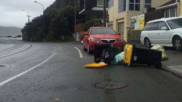 Wheelie bin down! Wellington City Council had warned residents not to put their bins out to avoid this situation.