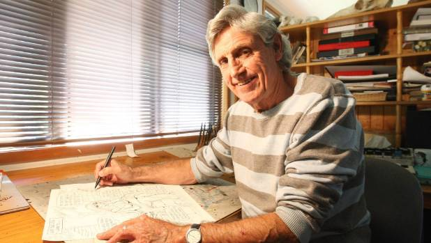Cartoonist Murray Ball at his desk at his Gisborne home in 2009