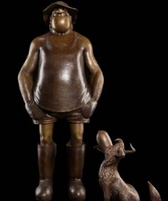 Bronze sculpture of Footrot Flats characters Wal and Dog, made by Weta Workshop, which will be erected in Gisborne, home ...