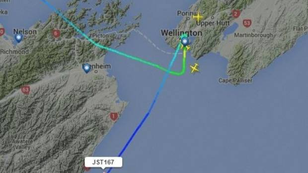 The flight path of JQ167 diverted to Christchurch due to high winds in Wellington on Jan 8, 2016.