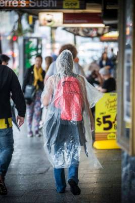 Stores have been doing a roaring trade in emergency ponchos.
