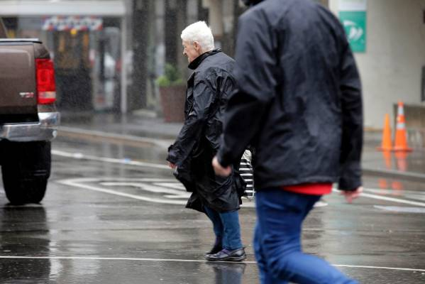 Windy wet Wellington central city rainy day weather rain people street