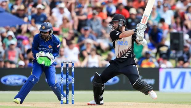 Black Caps T20 captain Kane Williamson swats one away off the back foot against Sri Lanka.