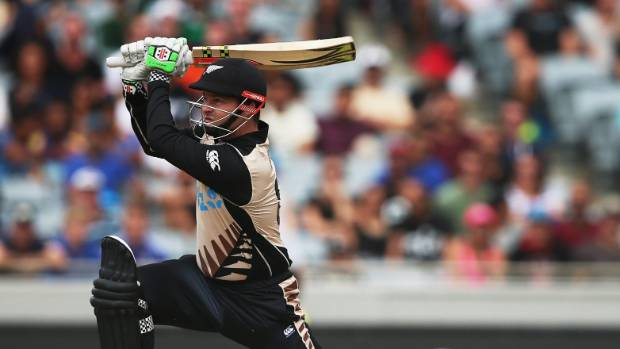 Colin Munro strikes another six during his record-breaking innings