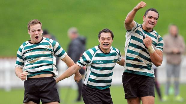 Teariki Ben-Nicholas, right, of OBU rugby club celebrates a win over Tawa with team-mates Wes Goosen and Tewehi Wright.