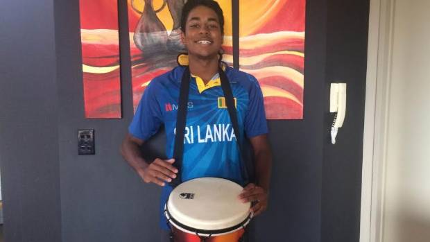 Sri Lankan cricket fan Taine de Alwis with the Djembe drum that was confiscated by Eden Park security on Sunday.