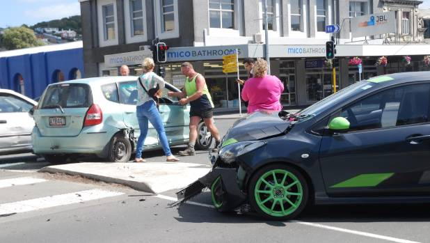 A car mounted the kerb at the corner of Eden St and Thames St in Oamaru, hitting two pedestrians and a stationary ...