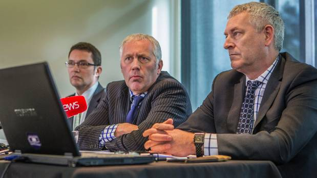 Ministry of Business Innovation and Employment officials Paul Hobbs, left, Adrian Regnault, and Larry Bellamy during a ...