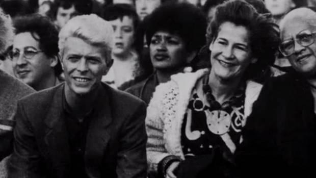 David Bowie visits Takapuwahi Marae in Porirua, November 23, 1983.