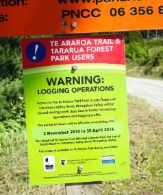 Warning signs on the Gordon Kear Forest Te Araroa walkway.